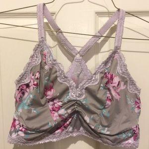 Torrid Women's Bralette 0 Gray Lavender Floral